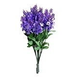 Ouneed® Bien Emballge en Tissu Decroration Fleurs Artificielles Lavande pour Mariage Bureau Cafe Librairie (Bleu fonce)