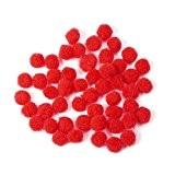 Pandahall - Lot de 50pcs Laine Ronde a Pompons Perles Boule, Rouge, 10mm