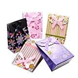 PandaHall- Lot de 60PCS Imprimes Sacs Papier Cadeau pour Mariage avec Ruban Noeud a Deux Boucles Multicolor, 10.5x7.5cm