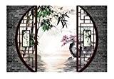 Papier peint 3D personnalisé / Tapisserie numérique sur msure style asiatique effet 3D «Paysage Zen - Les bambous et les ...