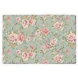 Papier peint floral PASTEL Tapis de porte–Intérieur ou Extérieur en néoprène et lavable en machine, rose, Large Door Mat