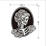 Papier peint Happy Halloween stickers muraux Fée Sticker mural Tête de Mort non peint Décoration chambre de bâton, noir, Skull ...