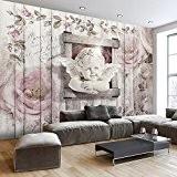 Papier peint intissé 300x210 cm - Top vente - Papier peint - Tableaux muraux XXL Ange Fleurs En Bois h-A-0048-a-a