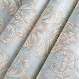 Papier peint non tissé Continental Salon Chambre à coucher plat fond papier peint vintage papier peint de luxe 0.53m*10M,Retro Blue