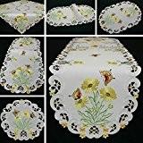 Papillon Chemin de table/Nappe Blanc avec broderie Donner marguerites–Taille au choix, Polyester, 160 cm x 40 cm