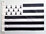 PAVILLON NAUTIQUE BRETAGNE 45x30cm - DRAPEAU DE BATEAU BRETON - FRANCE 30 x 45 cm - AZ FLAG