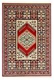 Persan QASHQAI Azar Tapis design petit moyen grand tapis de couloir rouge bleu marine Crème et Or Tapis design traditionnel ...