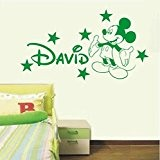 Personalised Mickey Mouse vinyl wall art sticker - 4 sizes & 16 colours - mm1 (4 - X Large 100 ...