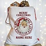 Personnalisé rétro vintage Santa NS002Sac de Noël bas de Noël sac cadeau Père Noël Lettres Post, Toile, Taille L