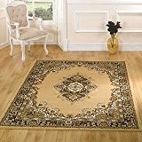 Petit qualité Design médaillon traditionnel Oriental Hall Tapis de couloir Tapis, beige – 60 x 110 cm