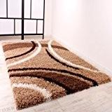 PHC Shaggy Tapis à longs poils Marron/beige/crème/motifs 120 x 170 cm