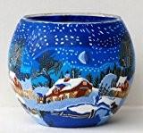 Photophore en verre avec bougie à chauffe-plat Motif Paysage d'hiver avec lune, 11cm