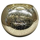 Photophore en verre lani–Vase boule–Champagne–Photophore–Vase décoratif, Verre, jaune, 24 cm