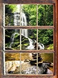 pierres zen devant cascade Fenêtre en 3D look, mur ou format vignette de la porte: 92x62cm, stickers muraux, sticker mural, ...