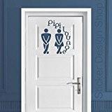 PIPI Lounge Panneau WC salle de bain salle de bains Sticker mural autocollant pour la porte Salon Chambre Autocollants, noir, ...