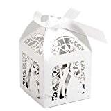 Pixnor 100pcs Boites de mariage bonbons bonbons coffrets cadeaux faveur - Couple Conception (blanc)