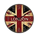 PIXNOR Murale Horloge Vintage Britannique Drapeau Style avec LONDON
