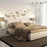 plumes - Sticker mural beige 147 x 75 cm (Muraux Décoration Murale Stickers Wall Decal Autocollants Salon Chambre d'enfants Nursery ...