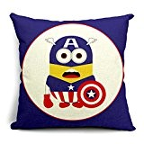Poens Dream Housse de Coussin, Captain America Cartoon Cotton Linen Decorative Throw Pillow Case Cushion Cover, 17.7 x 17.7inches