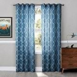 Polyester slubby yarn Impression Half shade punch Le produit fini Salon Chambre Rideaux Bleu 1 panneau , 52*63in