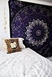 Populaire Twin Tapisserie hippie mandala Bohemian psychédélique Complexe Motif floral indien Couvre-lit Tapisserie Pensée magique, 213,4x 137,2cm (215x 140cms) Bleu ...