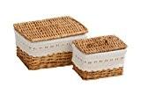 Premier Housewares Panier en osier avec couvercle et revêtement en tissu