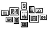 PrinterKnow Lot de 11 cadres muraux Grande solidité Bois 135 x 70 cm - noir