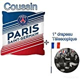 PSG coussin officielle collection 2017 du Paris saint germain 40x40cm supporters club football + 1 drapeau télescopique offert , supporters ...