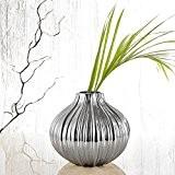Pure. Lifestyle - Vase en Céramique CHrome Galvanisé Design Ail Décoration Table Maison Hauteur 19,5 cm Cadeau Fête Noël Saint ...