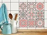 PVC Autocollant Carreau de Ciment | Mosaique Salle de Bain - Stickers Carrelage adhésif mural | Décalque de Mur de ...