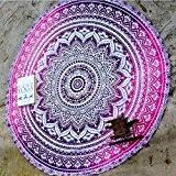 QHGstore Fader Rond Couleur Coton Tippet Nappe Serviette de plage ronde de tapis de yoga Violet 150cm