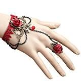 QHGstore Style gothique Noir Dentelle Rose Perles Bracelet avec Bague