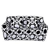 Qianle Housse de Canapé Super Extensible Sofa Protection Décor XL Noir blanc
