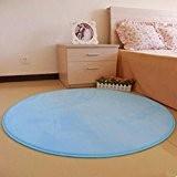 Qingsun doux chambre étage douche rond Mat tapis anti-dérapant,bleu,80 x 80cm