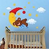 """R00095 Stickers muraux pour enfants imprimé sur papiers peints Wall Art """"Ours sur la lune avec le chapeau"""""""