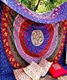 raajsee-indian Psychédélique fait main multicolore ronde Chakra barhmeri coton Tapisserie Mandala Imprimé mur de plage ou Résidence Séparation style hippie ...