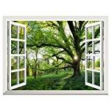RAIN QUEEN Papier Peint 90X122 cm Géant Tableau Mural Autocollant Amovible Decoration Wall Art Fenêtre Magnifique Paysage (Grand L'arbre)