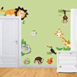 Rainbow Fox Jungle Wild Animal lion ,giraffe ,monkey Vinyl Wall Sticker Decals for Kids Baby Bedroom by Rainbow Fox