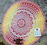 rawyalcrafts Design Mandala indien rond roundie de plage Tapisserie Hippie Boho coton Gypsy Rond Tapis de yoga