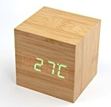 RayLineDo® Cube Horloge LED Affichage numérique moderne réveil Horloge USB/batterie AAA Thermomètre Calendrier Bureau Chambre ( Bois cube & vert ...