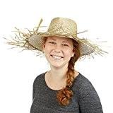 Relaxdays Chapeau de paille canotier HxlxP: 13 x 39 x 39 cm chapeau de soleil déguisement plage mer costume, nature