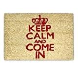 """Relaxdays Paillasson """"Keep calm and come in"""" en fibre de coco 40 x 60 cm avec dessous antidérapant PVC caoutchouc ..."""