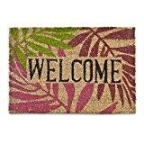 Relaxdays Paillasson Tapis d'entrée Natte en fibre de coco 'Welcome' 40 x 60 cm Feuilles automne dessous antidérapant caoutchouc PVC ...
