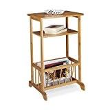 Relaxdays Porte-revues en bambou table d'appoint table console porte-magazine bois 2 surfaces HxlxP: 71,5 x 44,5 x 37 cm, nature