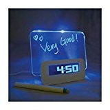 Réveil Digital Electroniques Tableau Radio-reveil Lumineux Fluorescent L'alarme Horloge Réveil Original LED avec Surligneur-Bleu