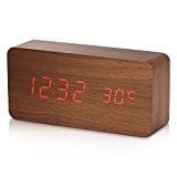 Réveil Digital Yokkao LED Horloge Enfant Numérique Alarme électrique en Bois Date Température Affichage avec Contrôle du Son