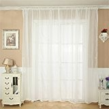 Rideaux Salon Design Moderne Kolylong Solide Couleur Rideaux Voilages Discount 200*100 (Blanc)