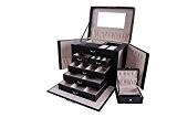 Rightvp Boîtes à bijoux, boîte grande capacité des bijoux, à cinq couches, cuir PU, Grand papillon cas cosmétique, boîte de ...