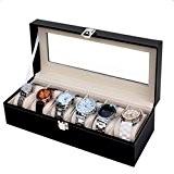 Rightvp Présentoir coffret boîte à bijoux pour 6 montres Bois Massif Coffret Organizer avec Verre Display Top par Elegance, Noir