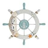 ROSENICE Décoration Murale Gouvernail avec Mouette Coquillage Filet de Pêche Ancre Etoile de Mer